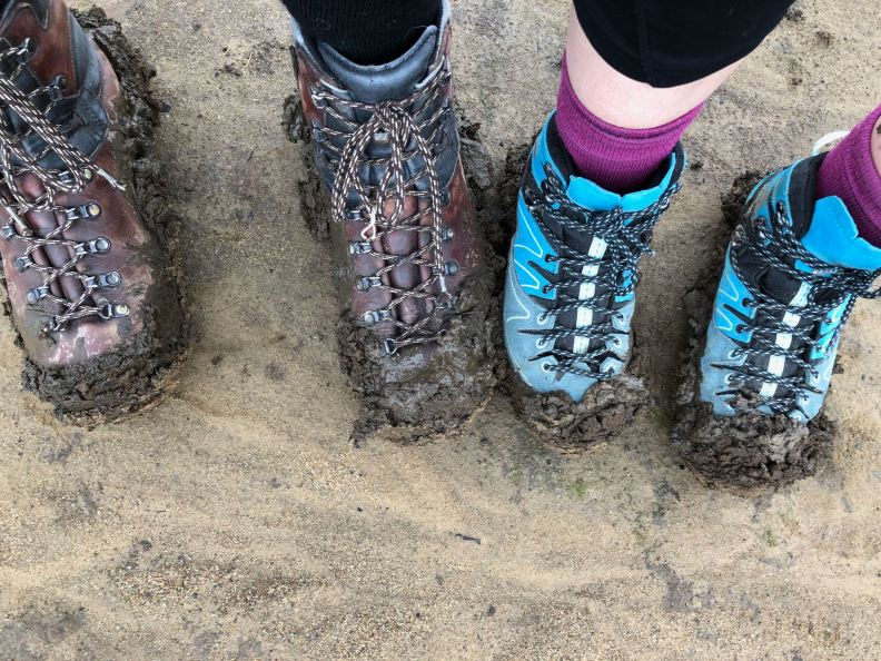 Our boots in Ladybower Reservoir