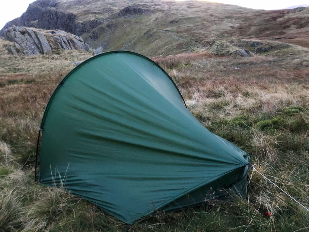 My Laser Competion tent pitched at Dale Head Tarn